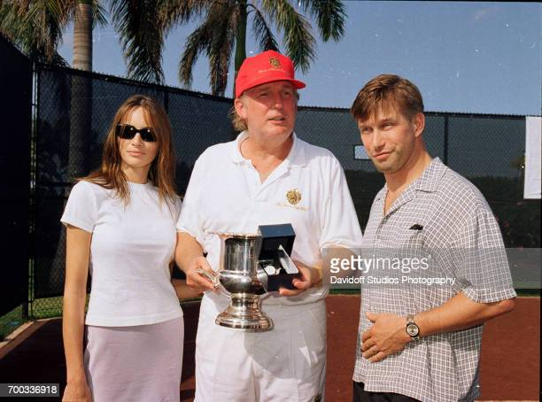 View of from left former model Melania Knauss her boyfriend real estate developer Donald Trump and actor Stephen Baldwin as they pose together at the...