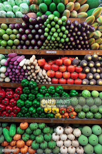View Of Fruits And Vegetables On Shelves
