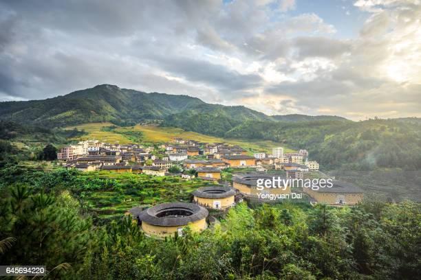 View of Fujian Tulou at Sunset