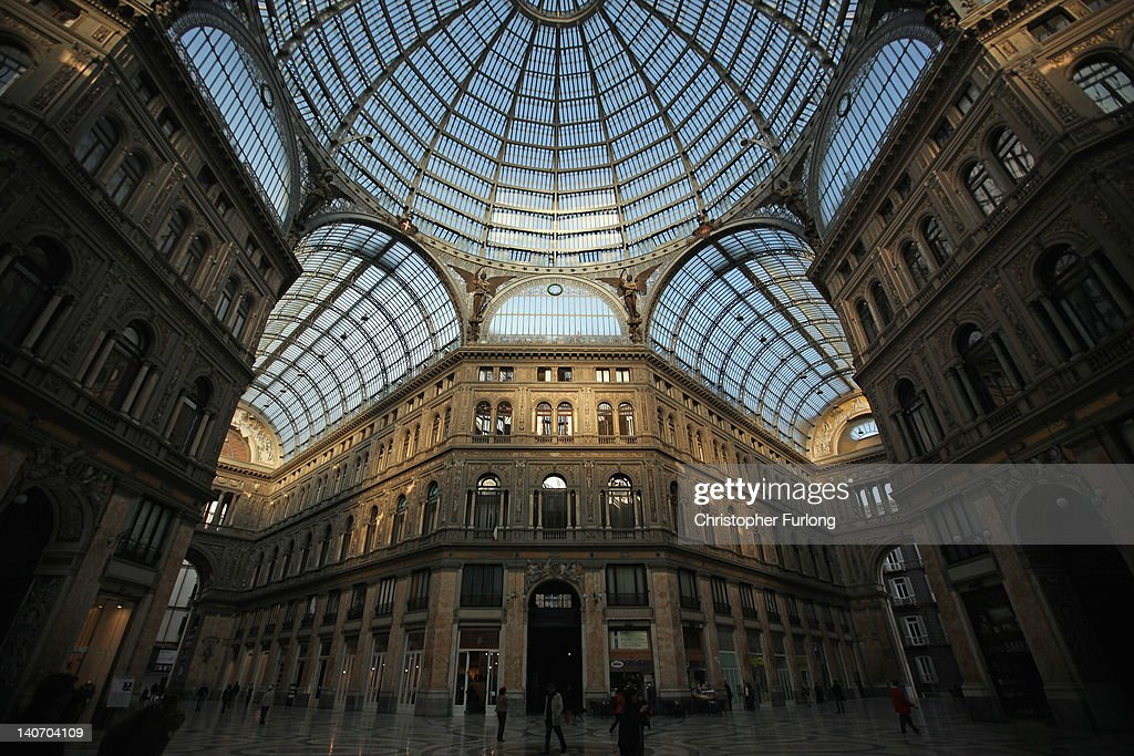 A View of Galleria Umberto I in central Naples on November 14, 2011 in Naples, Italy. Naples is famed for it's narrow streets, pizza, Mount Vesuvius and Unesco protected buildings.