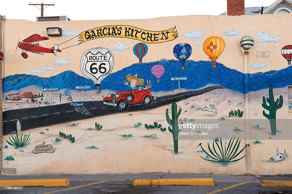 A view of Garcia's Restaurant on August 31, 2013 in Albuquerque, New Mexico. Garcia's Restaurant and their iconic signage and murals can be seen in 'Breaking Bad' Seasons 1, 2 and 4.