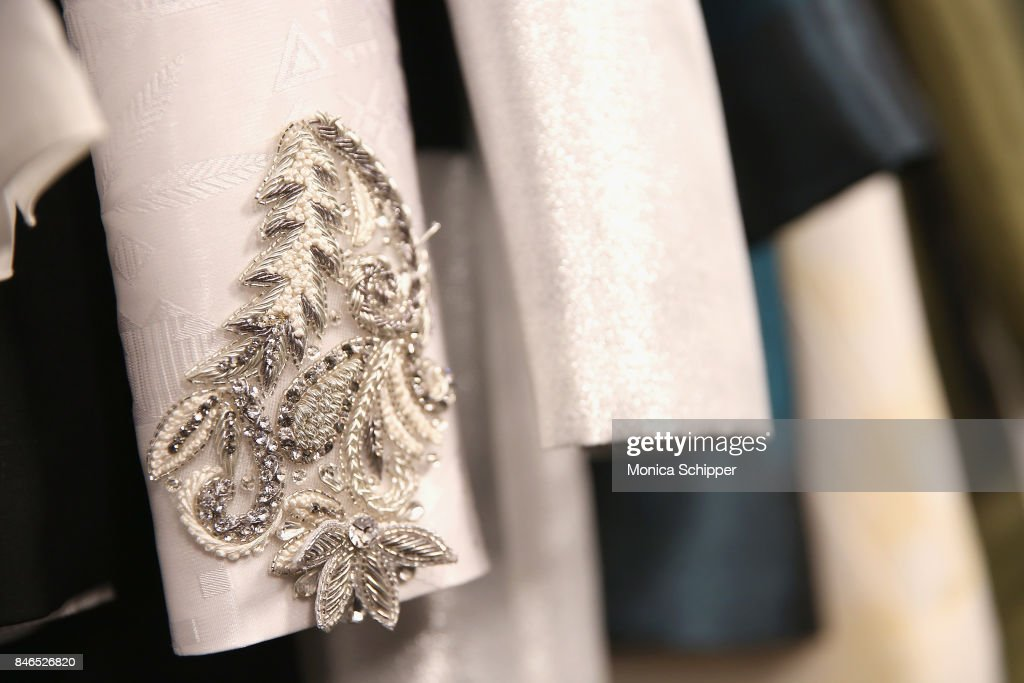 A view of garment details backstage for the Vicky Zhang fashion show during New York Fashion Week: The Shows at Gallery 1, Skylight Clarkson Sq on September 13, 2017 in New York City.