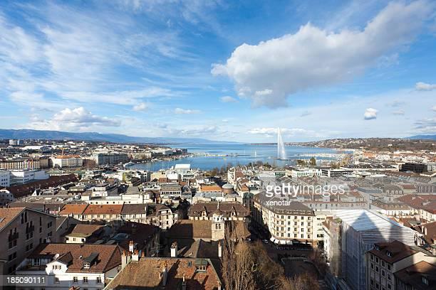 Ansicht von Kanton Genf und'Jet d'Eau'