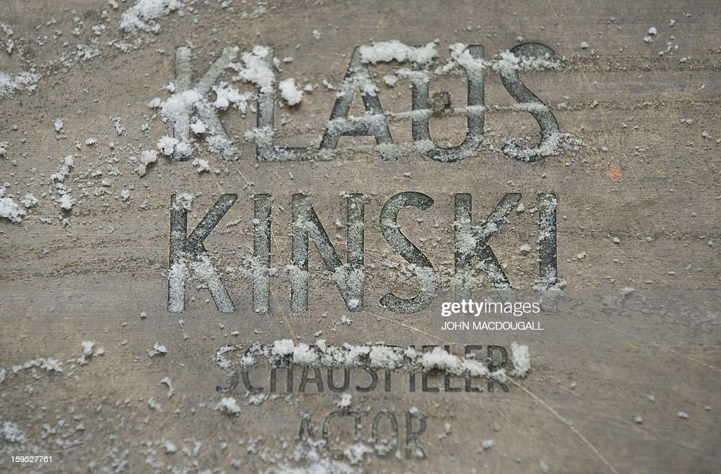 View of German actor Klaus Kinski's star on Berlin's 'Boulevard Der Stars', the local equivalent of the Hollywood Walk of Fame, on January 15, 2013. Kinski's daughter Pola Kinski, 60, said in a magazine interview ahead of the release of her memoirs that the mercurial actor, who died in 1991, had sexually abused her throughout her childhood.