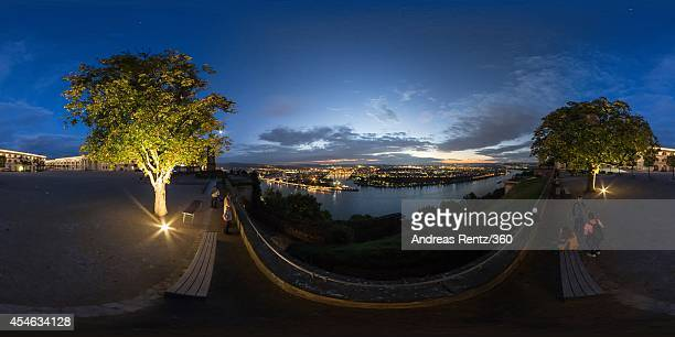 A view of Germany's Deutsches Eck illuminated on September 2 2014 in Koblenz am Rhein Germany
