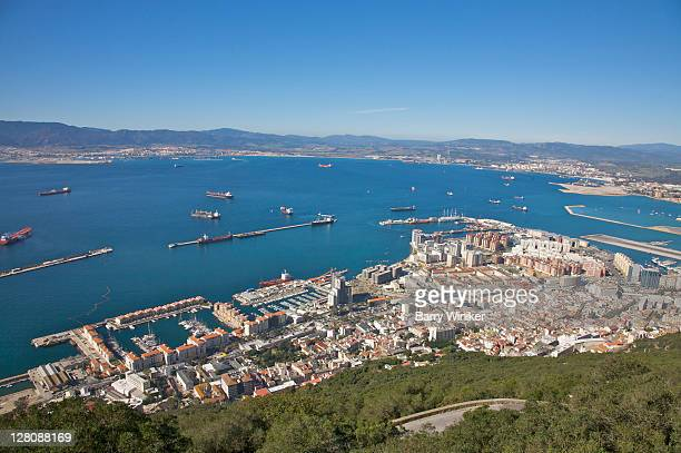 View of Gibraltar Harbour and Spain from Top of the Rock, Gibraltar, U.K.