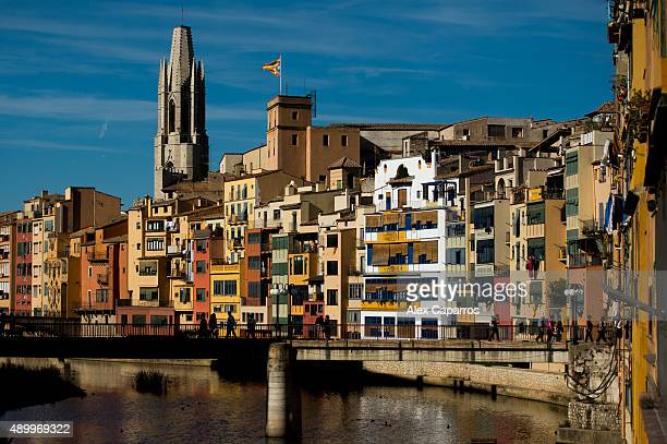 A view of Girona on September 24 2015 in Girona Spain Over 5 million Catalans will be voting in Parliamentary elections on September 27 with opinion...