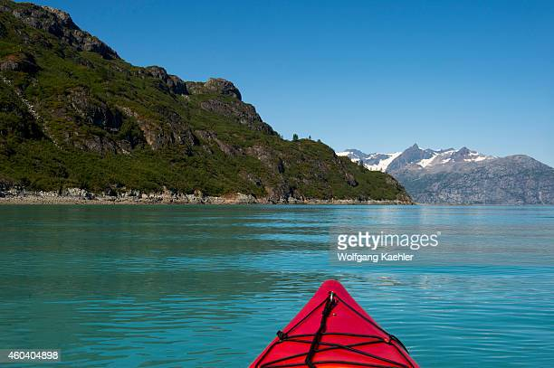 View of Glacier Bay National Park from sea kayak Southeast Alaska USA