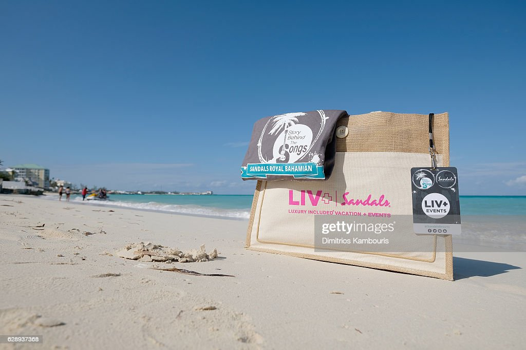 View of goodie bag during CMT Story Behind The Songs LIV + Weekend at Sandals Royal Bahamian Spa Resort & Offshore Island - Day 3 at Sandals Royal Bahamian on December 10, 2016 in Nassau, Bahamas.