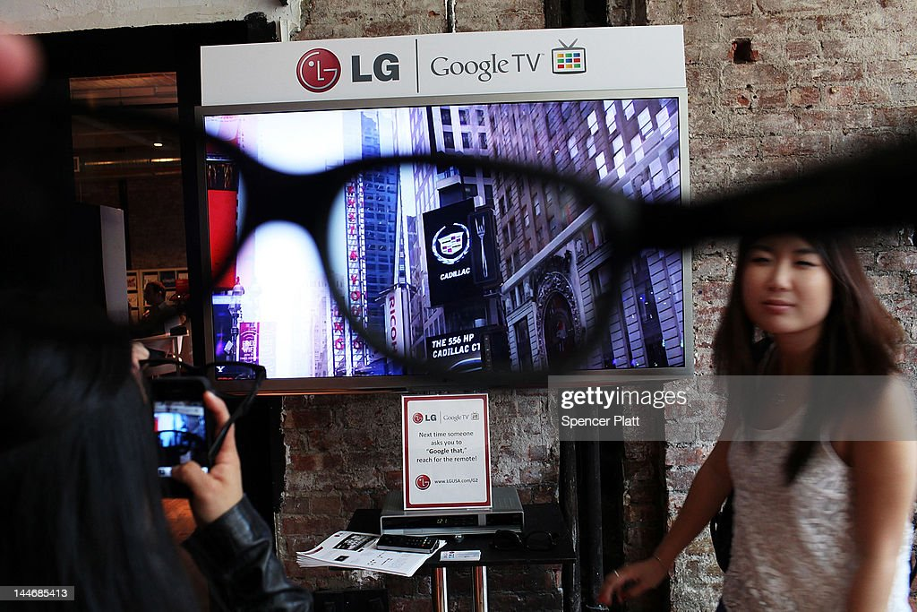 A view of Google TV through a pair of 3-D glasses during the 5th annual Internet Week New York on May 17, 2012 in New York City. It is expected that some 45,000 people will attend the festival through next Monday. A celebration for digital culture and a showcase for New York City's growing technology industry, Internet Week New York features over 300 events that focus on social media and digiital culture. The event is produced by the International Academy of Digital Arts & Sciences (IADAS), in cooperation with the Mayor's Office of Media and Entertainment.