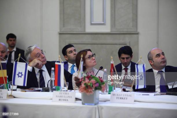 View of Governor of the National Bank of Romania Mugur Isarescu head of the Central Bank of Russia Elvira Nabiullina and Governor of the Central Bank...