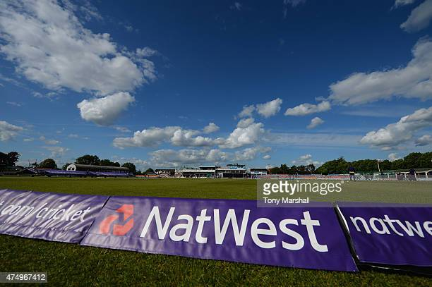 A view of Grace Road home of Leicestershire Foxes before the NatWest T20 Blast match between Leicestershire Foxes and Durham Jets at Grace Road on...