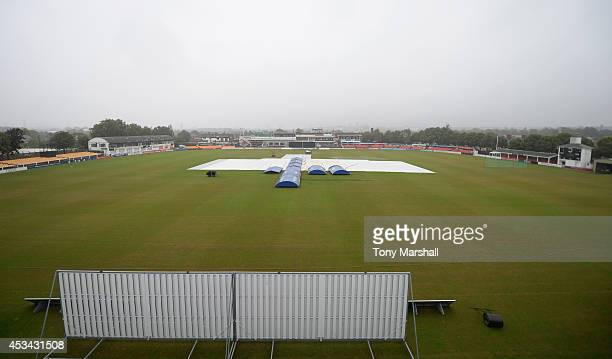 A view of Grace Road in the rain as the match is called off due to the heavy rain during the Royal London OneDay Cup 2014 match between...