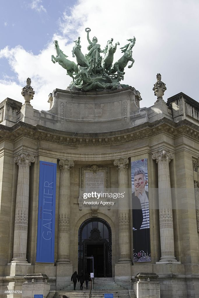 A view of Grand Palais where the exhibition by French fashion designer Jean-Paul Gaultier takes place in Paris on April 1, 2015.