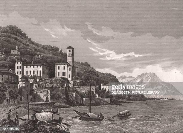 View of Gravedona on Lake Como Lombardy Italy steel engraving ca 163x105 cm from L'Italia la Sicilia le isole Eolie l'isola d'Elba la Sardegna Malta...