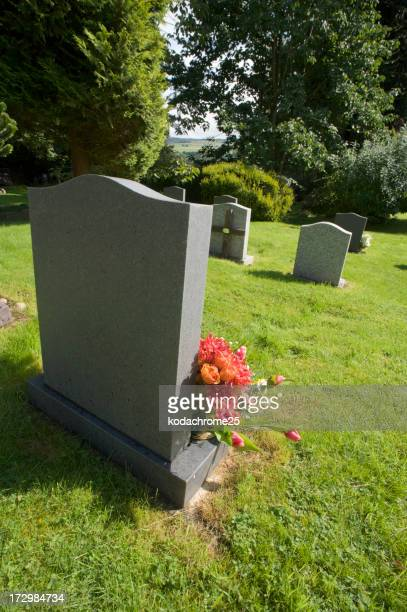 View of gravestones in a cemetery