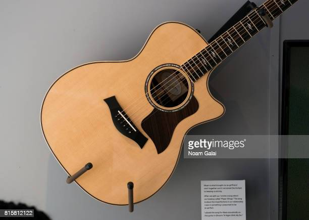 A view of guitar donated by Tyler Boone on display at 'The EXhibition' presented by Bravo And The Museum Of Broken Relationships at Flatiron Plaza on...