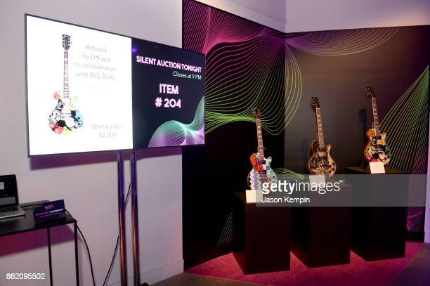A view of guitars on display at VH1 Save The Music 20th Anniversary Gala at SIR Stage37 on October 16 2017 in New York City