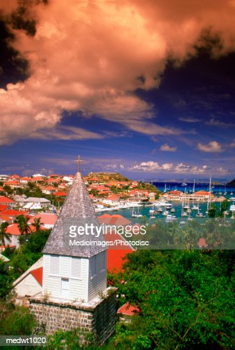 View of Gustavia and harbor on St. Barts island, Caribbean