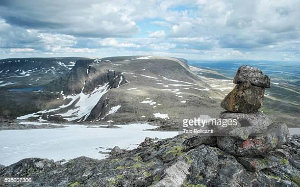 View of Halligskarvet mountain in central Norway, Scandinavia, Europe