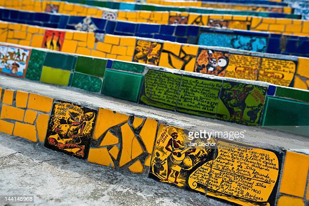 View of hand painted tiles on Selaron's Stairs a mosaic staircase made of colorful tiles on February 12 2012 in Rio de Janeiro Brazil World famous...