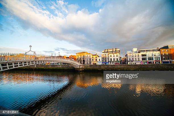 View of Ha'Penny Bridge in Dublin, Ireland
