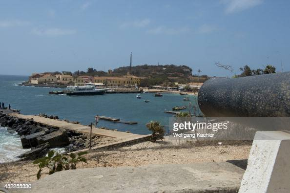 View of harbor from the old fortress now used as history museum on Goree Island in the Atlantic Ocean outside of Dakar in Senegal West Africa