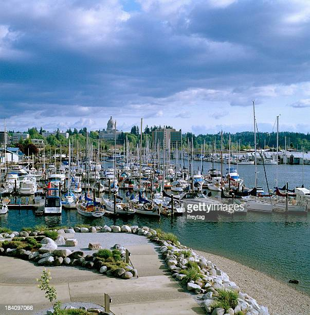 View of Harbor, Park, and Capitol, Olympia, Washington, United States