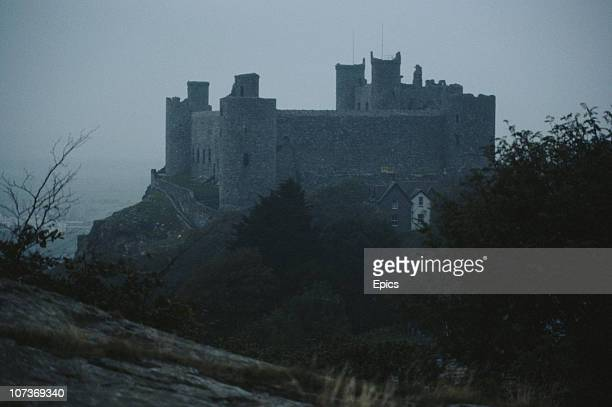 A view of Harlech castle Gwynedd which stands on a crag protected by the sea on one side and a moat on the other June 1983 The castle was built by...
