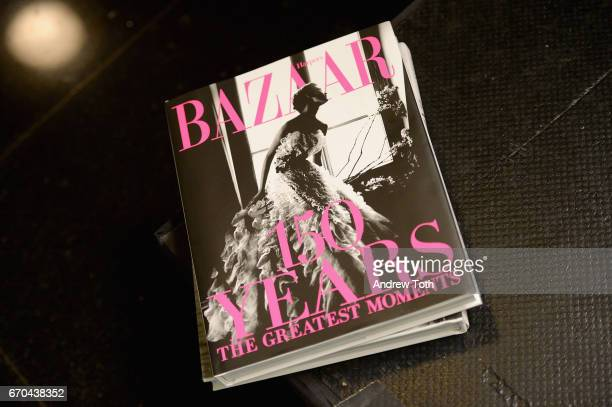 A view of Harper's BAZAAR 150 Years book during Harper's BAZAAR 150th Anniversary Event presented with Tiffany Co at The Rainbow Room on April 19...