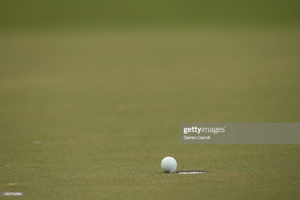 A view of Heath Slocum's ball after missing a putt for par on the 10th hole during the final round of the Wyndham Championship at Sedgefield Country Club on August 17, 2014 in Greensboro, North Carolina.