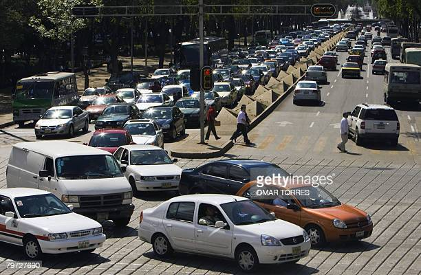 View of heavy traffic in Reforma avenue one of the main streets of Mexico City on February 12 2008 The mayor's office of the Mexican capital is...