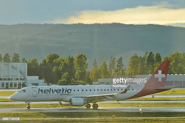 A view of Helvetic Airways plane at Oslo Gardermoen International Airport on Monday 15 August 2016 in Gardermoen Norway