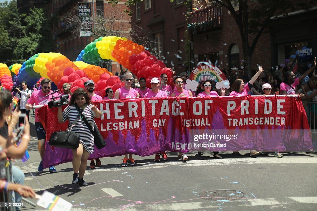 A view of Heritage of Pride marchers during the New York City Pride 2016 march on June 26, 2016 in New York City.