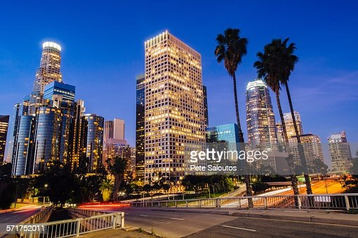 View of highway and city skyline at dusk, Los Angeles, California, USA