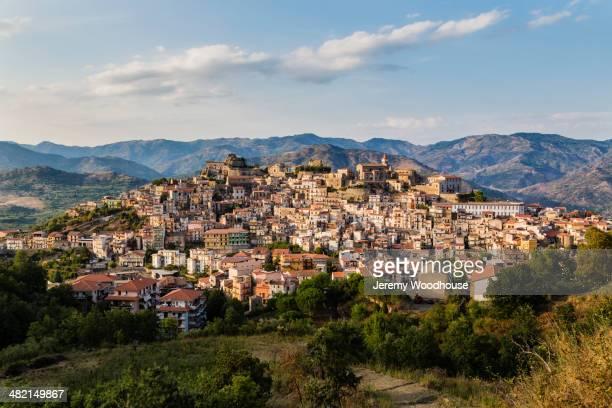 View of hillside town at sunset, Castiglione della Sicilia, Catania, Italy