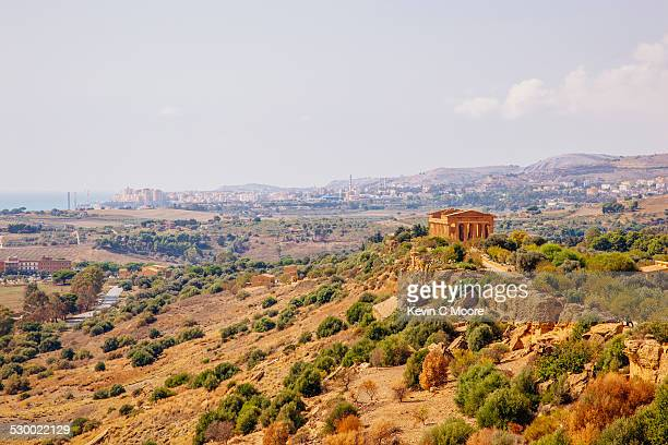 View of hilltop temple, Valley of the Temples, Sicily , Italy