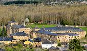 View of historic monastery in San Miguel de las Duenas, a small village in Bierzo region of the province of Leon, Spain.