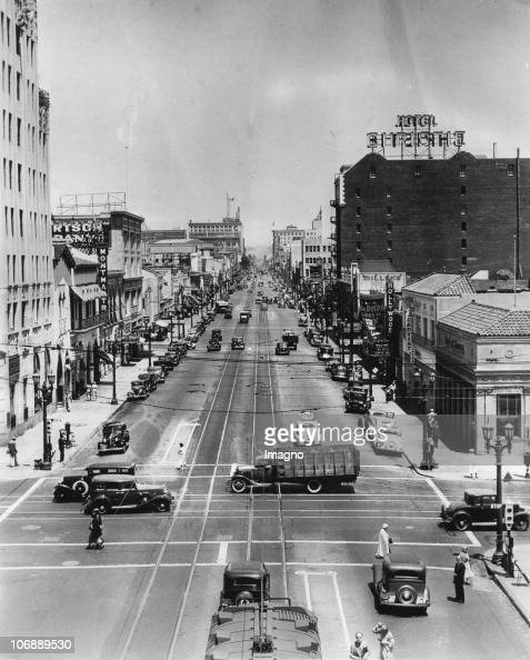 View of Hollywood Boulevard Hollywood Los Angeles California USA Photograph Around 1930