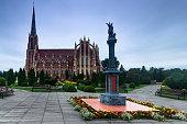 Panoramic view of Holy Trinity catholic church. Gervyaty. Grodno region. Belarus.