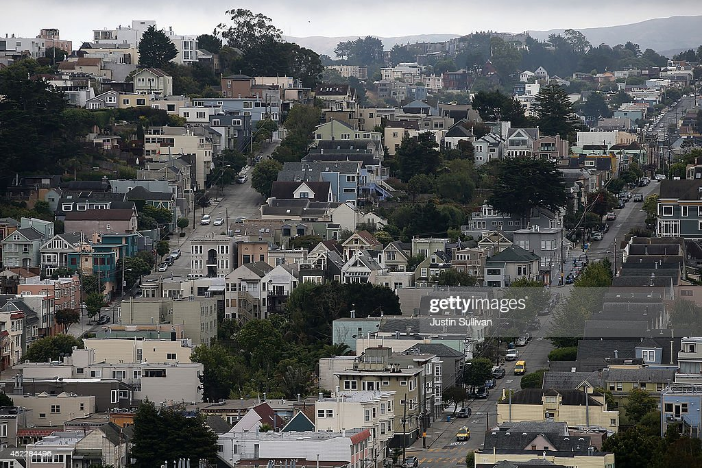 A view of homes on July 17, 2014 in San Francisco, California. According to a report by DataQuick, the median price of new or existing single-family homes and condos reached $1 million.