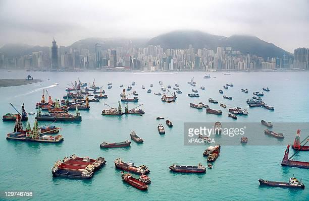 A view of Hong Kong Harbor through a cloudy haze