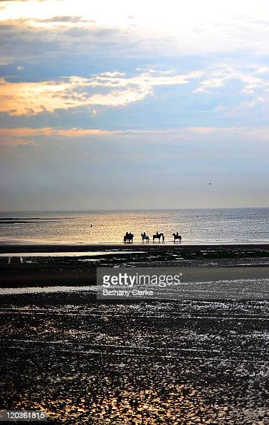 A view of horses at dusk on the the Margate Main Sands beach on August 2 2011 in Margate England The east Kent seaside town of Margate is currently...