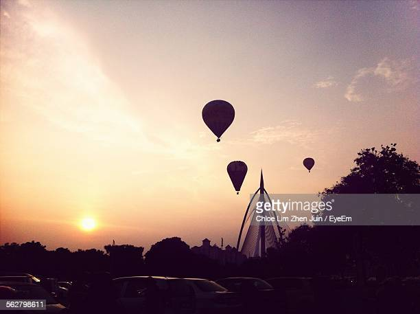 View Of Hot Air Balloon In Sky At Sunset