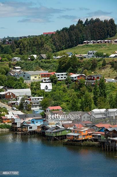 View of houses on stilts in the town of Castro on Chiloe Island in southern Chile