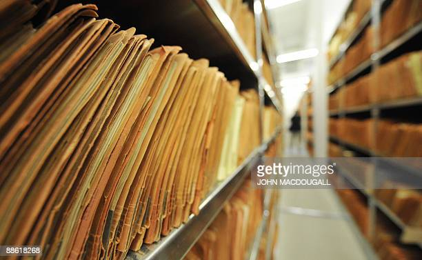 View of hundreds of documents in the archives of the former East German secret police known as the Stasi in Berlin on June 22 2009 The Office of the...