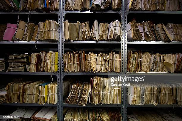 A view of hundreds of files lining the shelves in the archives of the former East German secret police known as the Stasi on September 17 2014 in...