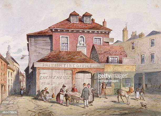 View of Hungerford Market Westminster London 1841 Figures stand in front of the British Fire Office building and on the left a man chases a young cow...