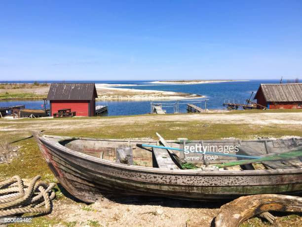 View of huts near the coast in Smogen