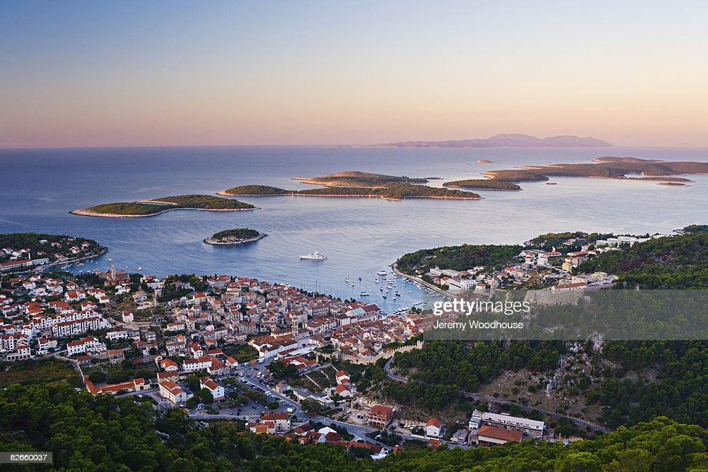 View of Hvar Town at Dawn : Stock Photo